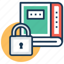 data security, digital library, ebook, online book, secure book icon