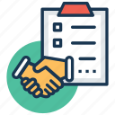 agreement, deal, partnership, partnership deed, shake hands icon