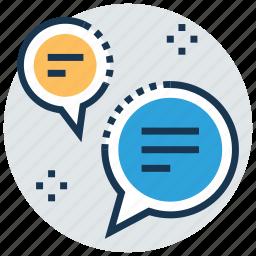 chat bubbles, chatting, communication, conversation, dialogue icon