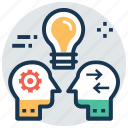 creative idea, exchange ideas, idea development, idea sharing, mind map icon