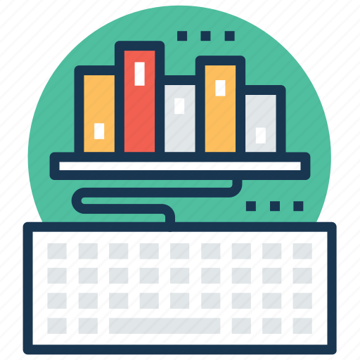 digital library, ebook, elearning, online book, online learning icon