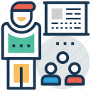 classroom, lecture, presentation, students, teacher icon