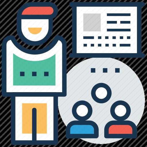 classroom, lecture, presentation, students, teacher icon