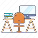student, desk, student desk, student table, study desk, study table, study corner icon