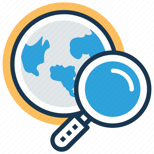 discovery, find location, global search, global view, globe with magnifier icon