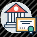 certificate, diploma, graduation degree, licence, school certificate icon