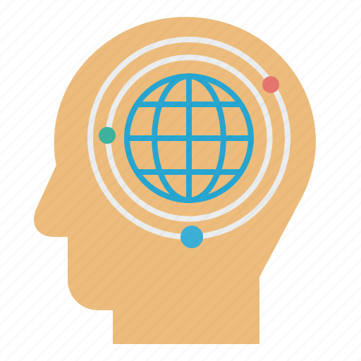 atoms, globe, idea, mind, thinking icon