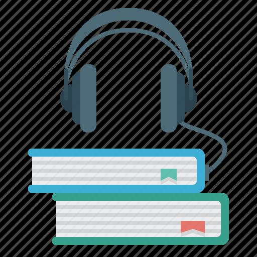 audio, audio library, books, headphones, multimedia icon