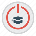 distance education, e-learning, start, start button, student cap icon