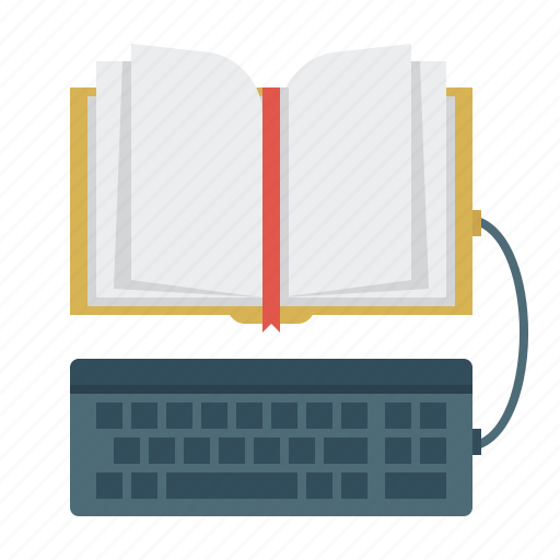 book, e-learning, ebook, keyboard, library, read icon