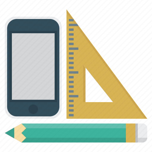 geometric, mobile, pencil, phone, ruler, tools icon