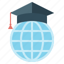 e-learning, earth, education, global, student cap icon