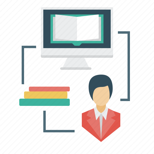 books, e-learning, internet library, library, monitor, student icon