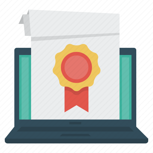 diploma, e-learning, education, laptop, online education icon