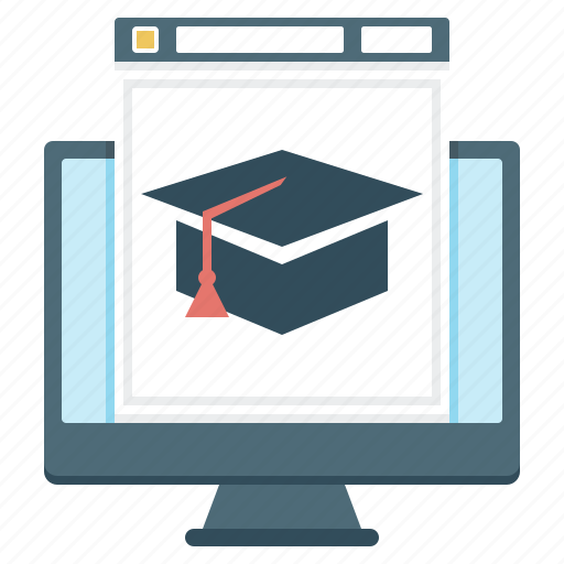 internet learning, monitor, online education, student cap, website icon