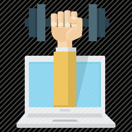 dumbbell, hand, knowledge training, laptop, training icon