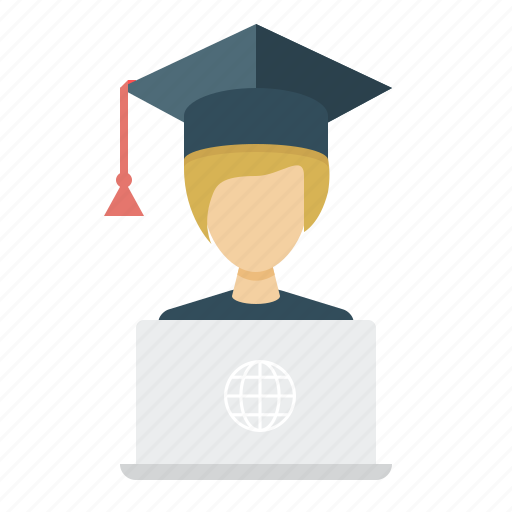 e-learning, girl, online education, student, student cap icon