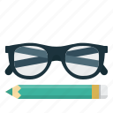 glasses, pencil, writing icon