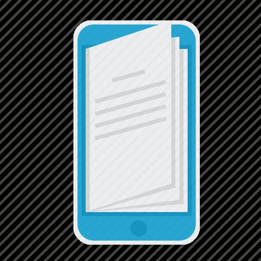 book, e-learning, ebook, mobile, phone, smartphone icon