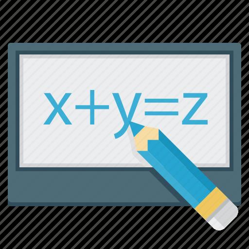 equation, formula, pensil, screen, tablet icon