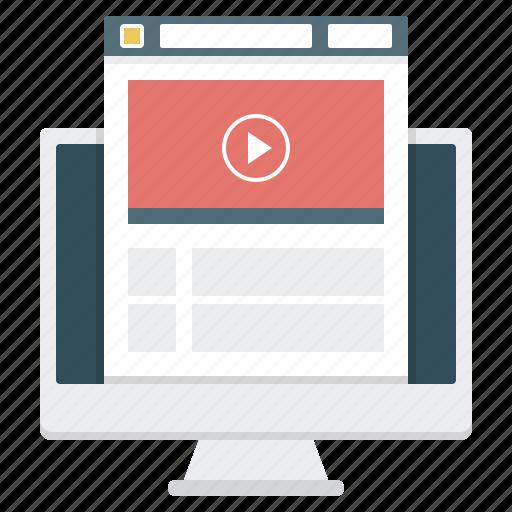 e-learning, monitor, video, video training, webinar, website icon