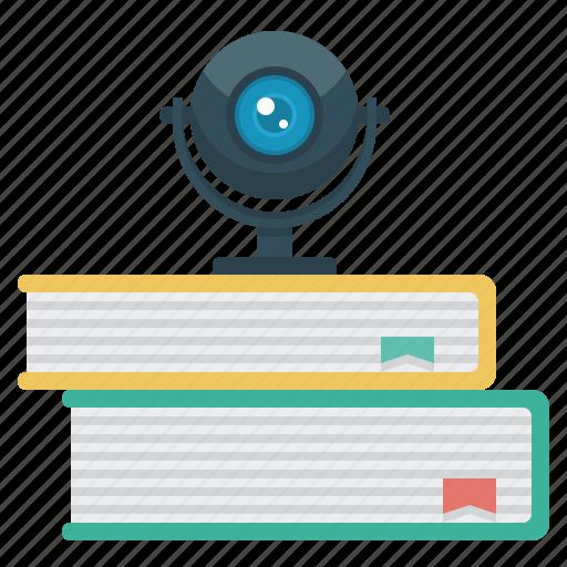books, camera, video, video library icon