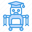 education, graduate, learning, robot, school, student, study icon