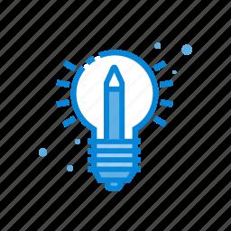 bulb, creative, pencil, teaching icon