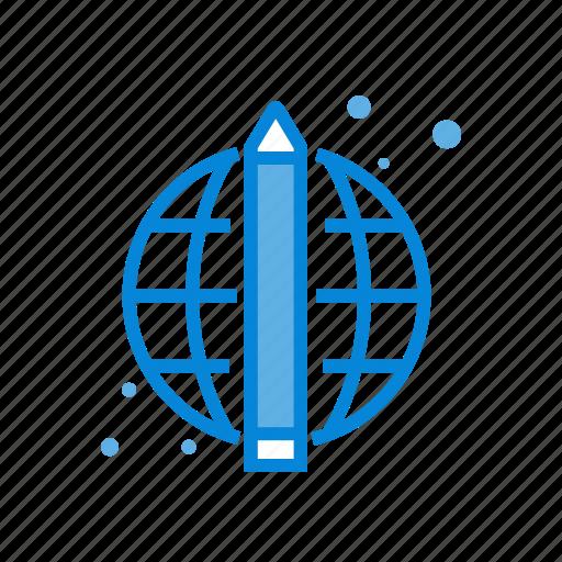 education, global, pencil, world icon