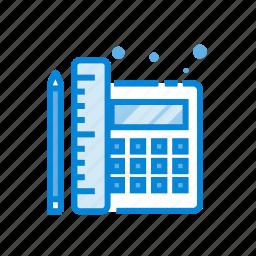 calculator, design, learning, pen, tools icon