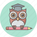cartoon, class, education, learning, owl, teacher, teaching icon