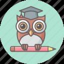 cartoon, class, education, learning, owl, teacher, teaching icon
