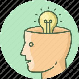 brain, bulb, face, head, human, light, man icon