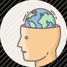 brain, earth, global, globe, human, planet, world icon
