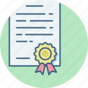 achievement, addendum, badge, certificate, certification, document, letter icon