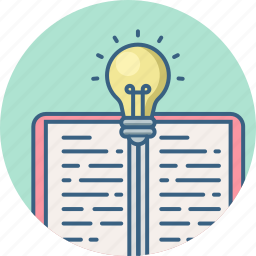 book, bulb, light, reading, study, studying, text icon