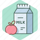 apple, beverage, beverages, fresh, fruit, milk icon