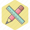 design, office, pencil, ruler, stationary, stationery icon