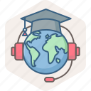 distance, education, global, globe, international, learning icon