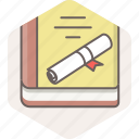 book, certificate, degree, diploma, education, knowledge icon