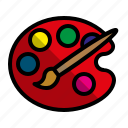 education, paint, paint brush, paint tray icon