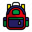 bag, children bag, education, school bag icon