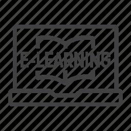 communication, e, education, internet, laptop, learning, online icon