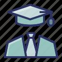 diploma, education, graduate, school, suit icon