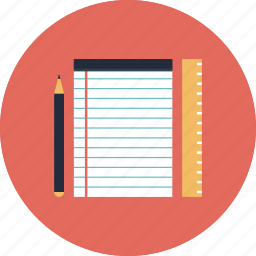 accessories, college, education, equipment, item, items, learn, learning, notebook, object, objects, pencil, ruler, school, study, textbook, utensil icon