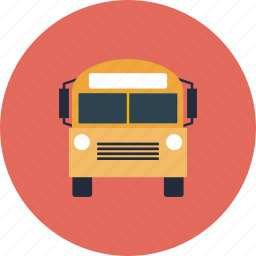 bus, college, education, equipment, item, learning, object, public, school, schoolbus, transportation, vehicle icon