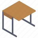 classroom furniture, school desk, table, work surface, writing desk icon
