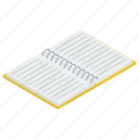 diary, jotter, journal, notepad, open notebook, register icon