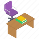 classroom desk, classroom furniture, study desk, table, teacher desk, work surface, writing desk icon