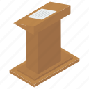 dais, debate, lectern, podium, rostrum, speech icon